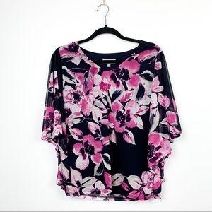 🌸2/$30🌸 Laura Petites Blue & Pink Floral Blouse